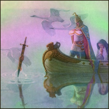 Scene from King Arthur's legend showing the magical sword